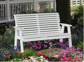 4' LuxCraft Plain Bench White