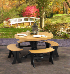 4' Round Table Set w/ benches